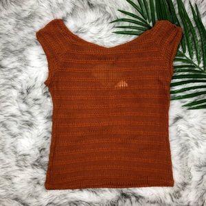 January 7 Orange Knit Top Size Medium